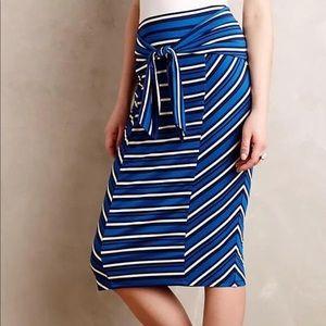 Anthropologie Lilka Blue Striped midi skirt